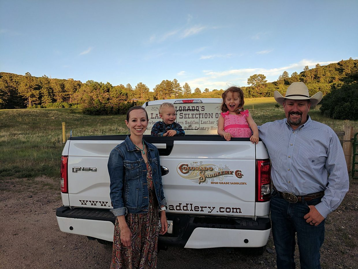 Matt and Lesley Wassam are excited about their opportunity to co-own Colorado Saddlery. The family, (from left) Lesley, Grady, Addie and Matt return home from a Sunday church service.