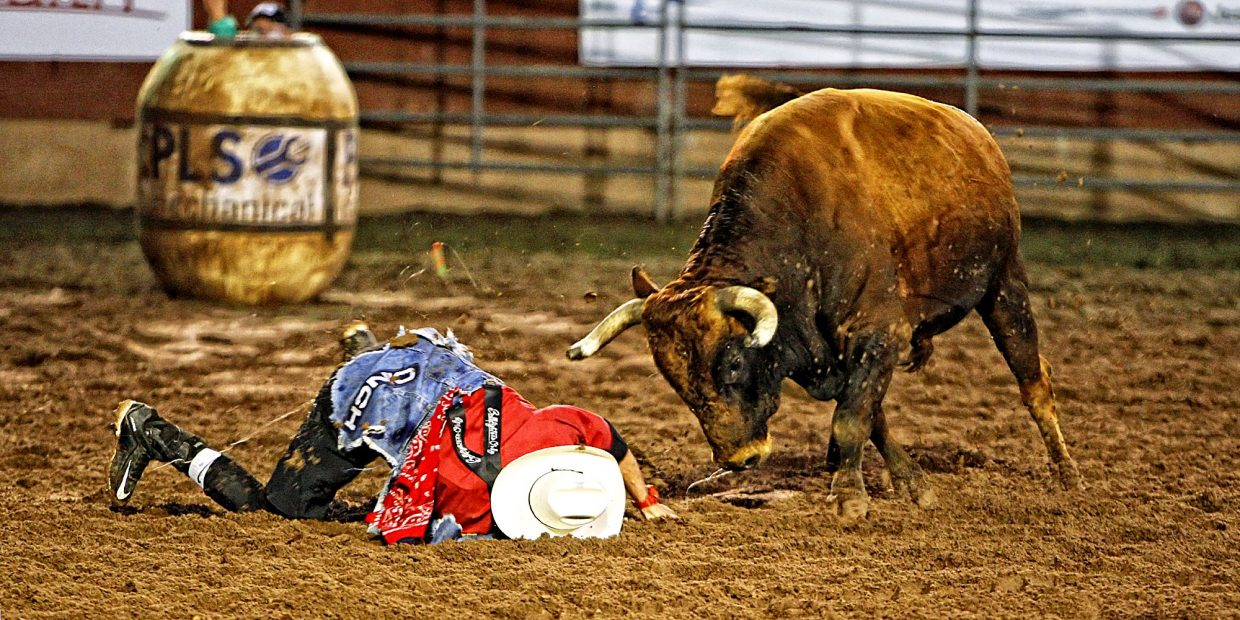 Adding to the exciting action at the 2017 Pikes Peak or Bust Rodeo, an American Freestyle Bullfighting event was held July 12-13. Bullfighter Tanner Zarnetski had a challenging round of action in a slick arena after the rain on July 13. Zarnetski rolled away from the bull and continued his time in the arena.