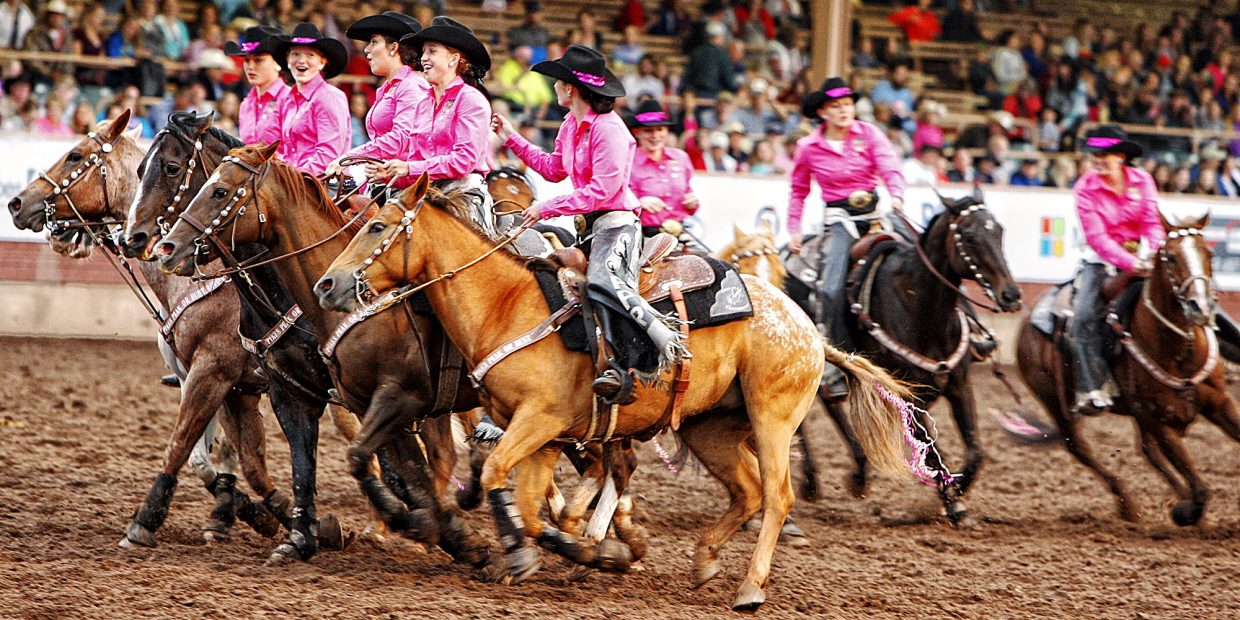 The Pikes Peak Rangerettes had a good time helping to entertain the crowd by performing high speed precision riding maneuvers during the 2017 Pieks Peak or Bust Rodeo. The Rangerettes have been riding and representing the Pikes Peak or Bust Rodeo for six decades.
