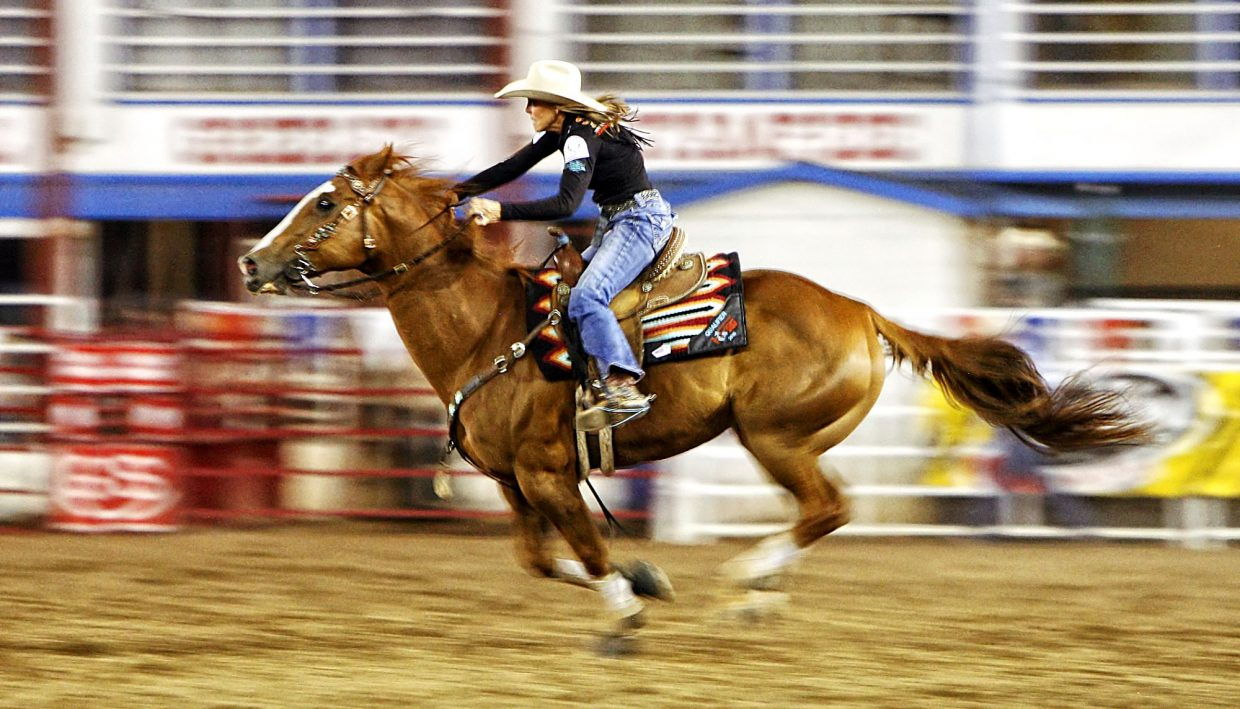 Larkspur, Colo., cowgirl Kim Schulze had the home state crowd cheering during her 17.27-second run in the championship round of the 2017 Greeley Stampede. Schulze's time was the fourth fastest of the night.