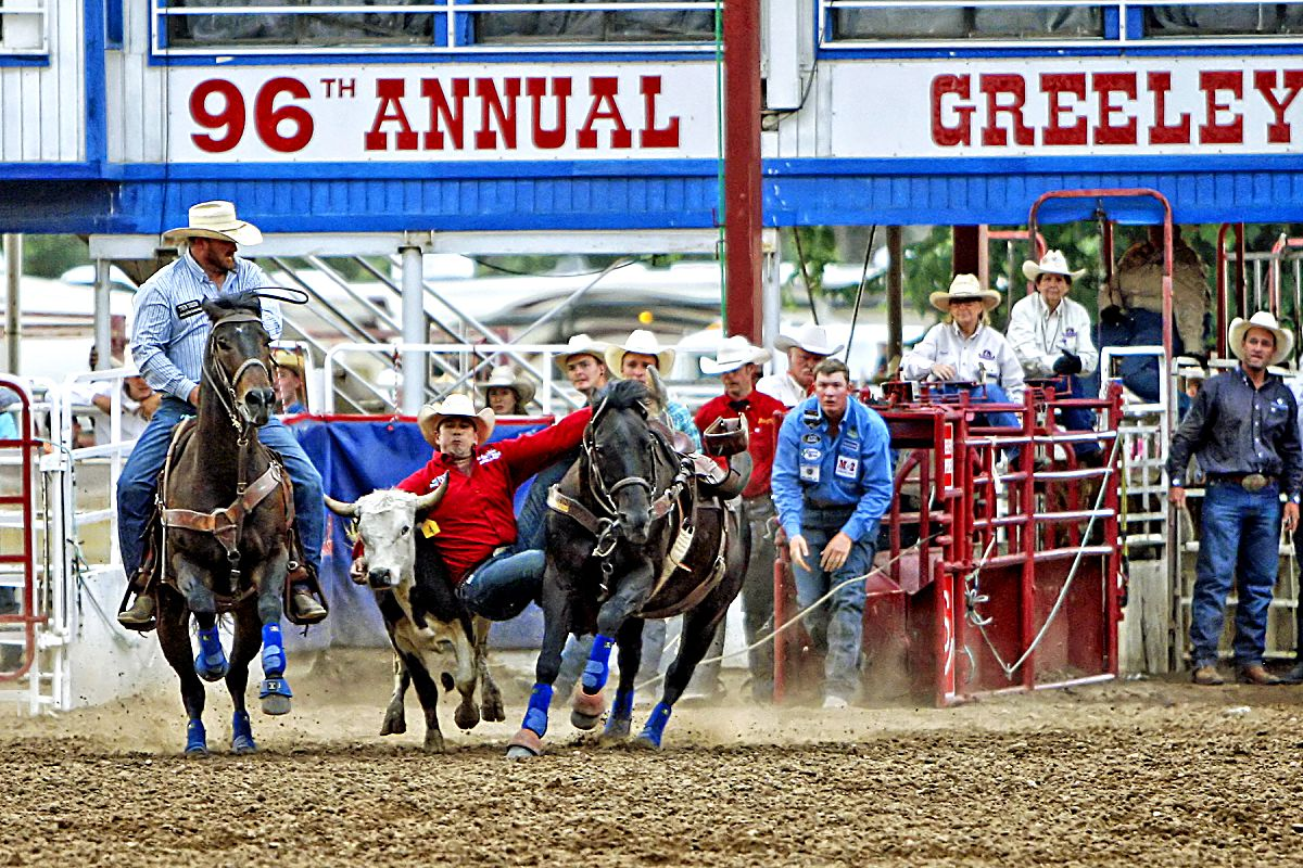 Nebraska steer wrestler Dru Melvin blistered the arena with a 3.6-second time in the championship round on July 3 to climb the leaderboard and take the 2017 Greeley Stampede steer wrestling title for himself.