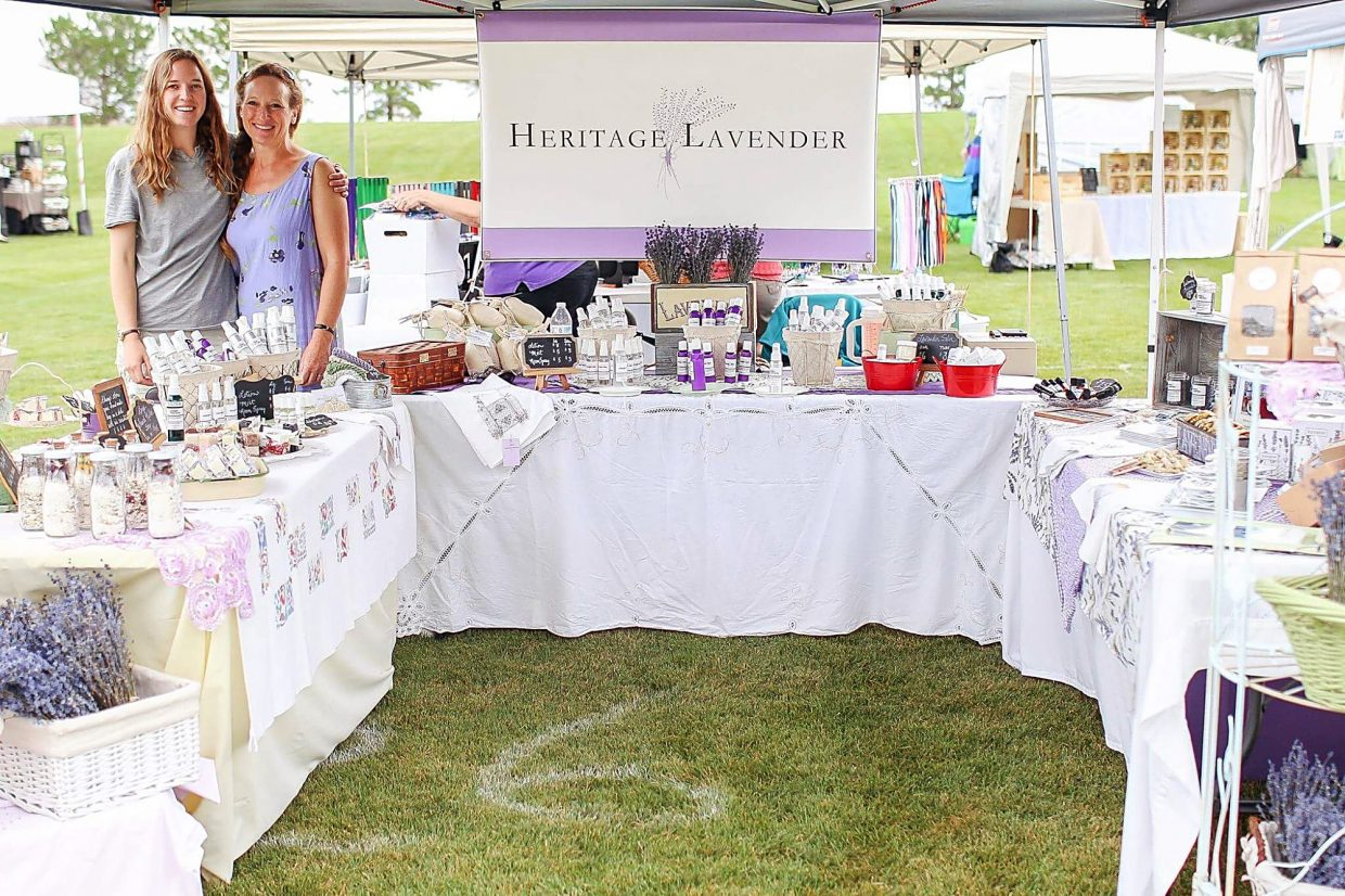 Julia and mom Trudy Perry offer a variety of Heritage Lavender products to visitors at the July 2017 Chatfield Farms Lavender Festival.