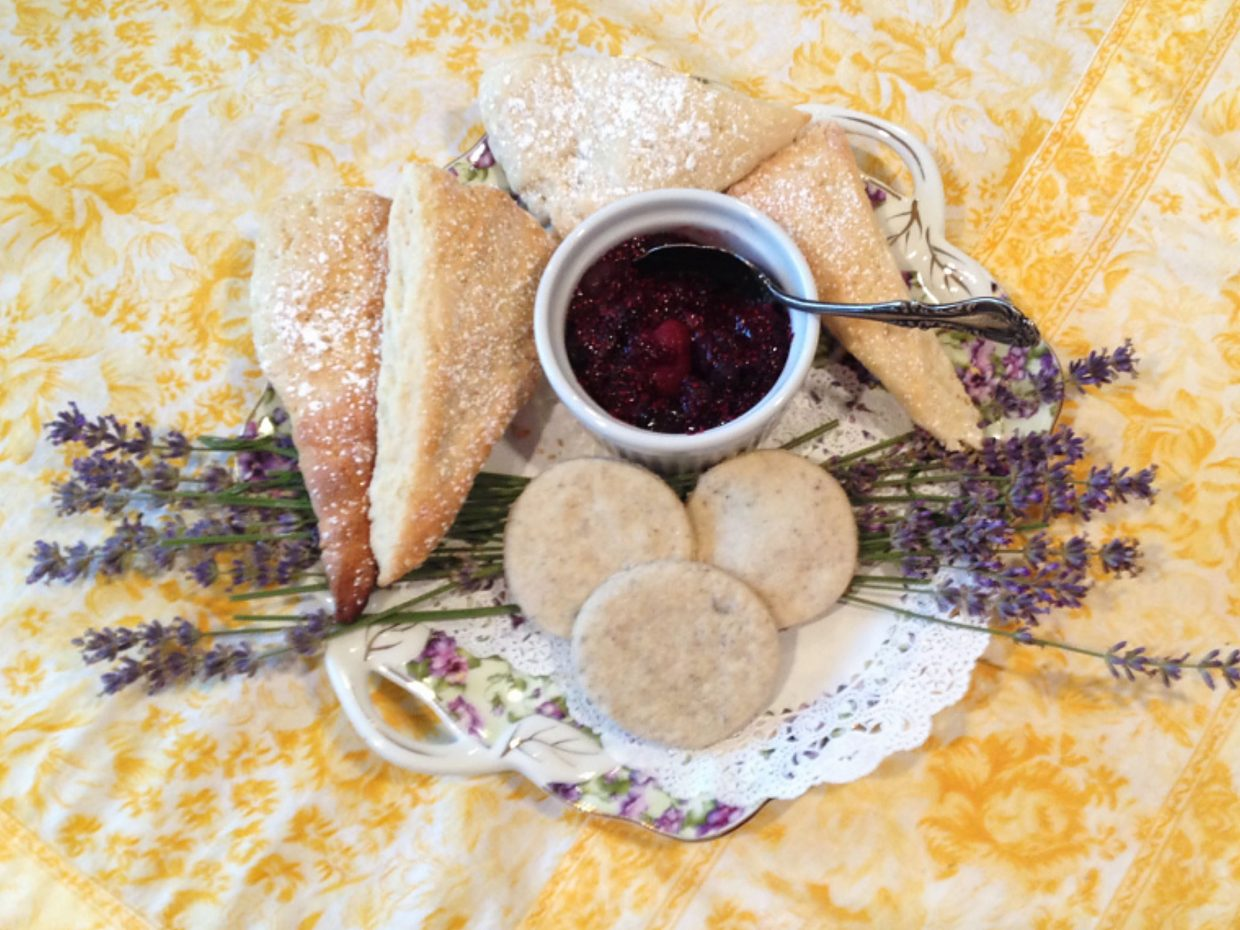 Lavender scones and a berry compote demonstrate the versatility of lavender in culinary dishes.