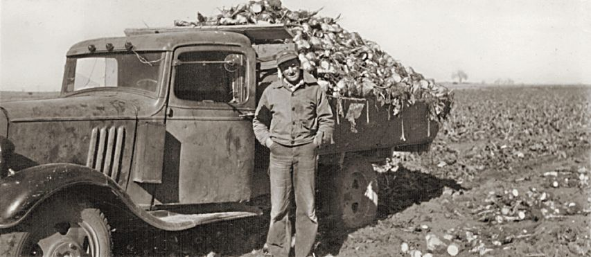 Local farmer Paul Fritzler with a truck loaded with beets.
