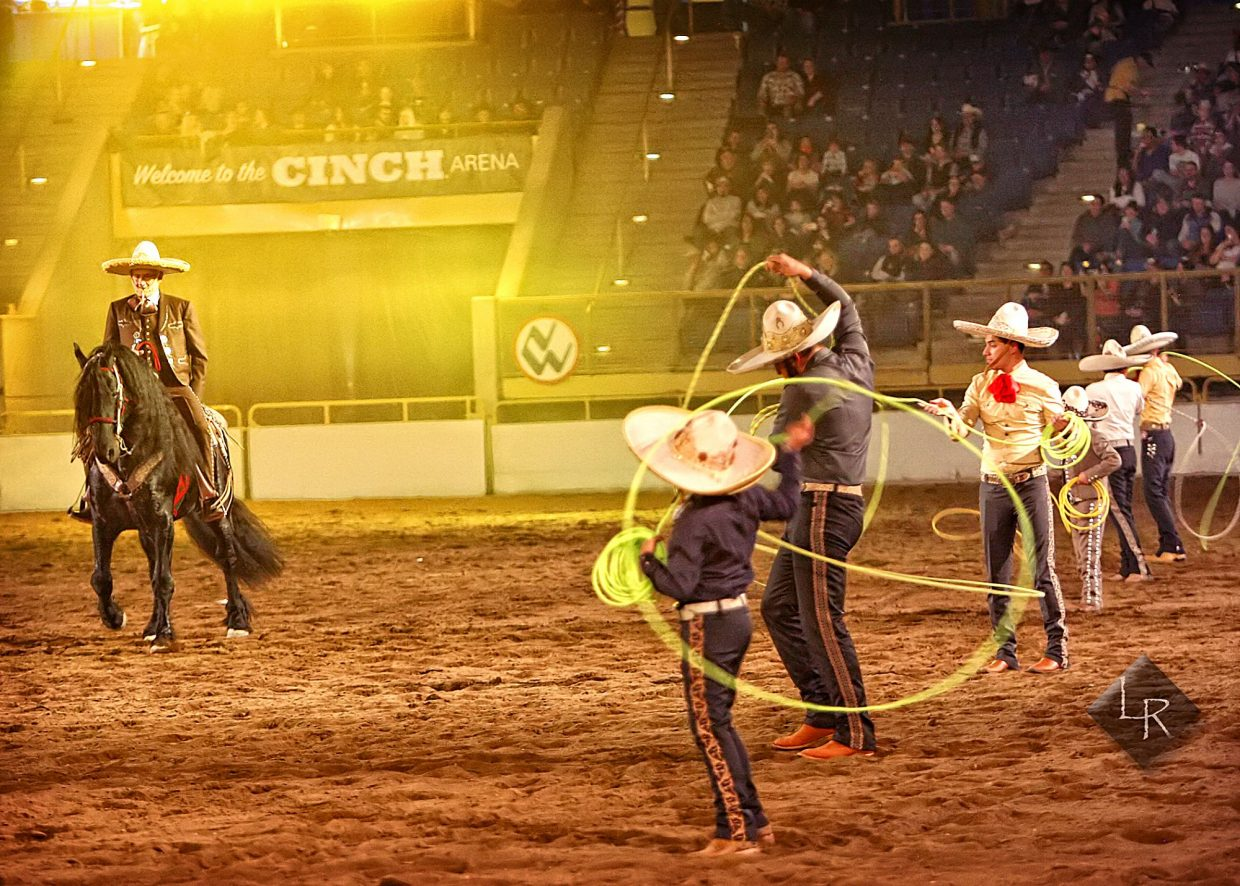 More formal Charro traditions were presented to the NWSS Wild West Show's audience as Roberto Torres stepped an Andalusian horse through its paces while compatriots showed off their roping skills around the arena.