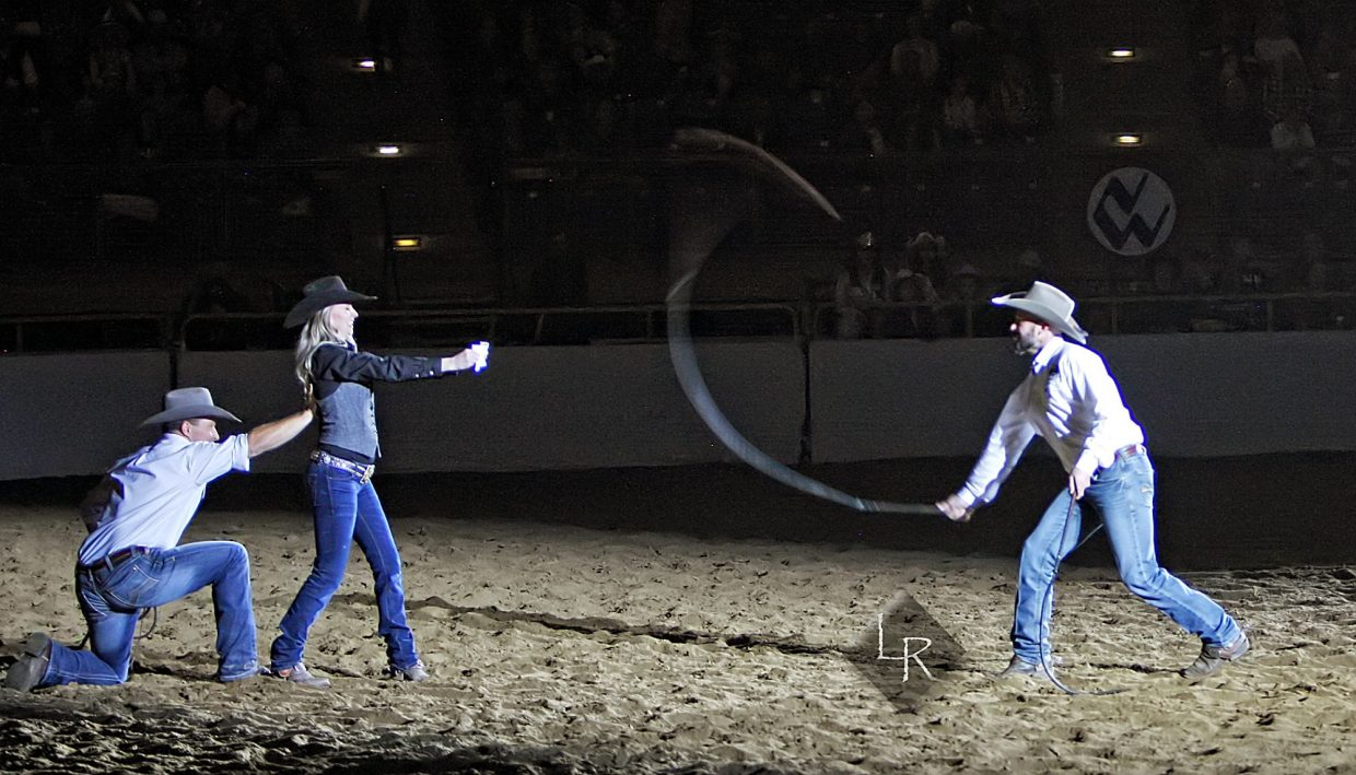 Aussie horsemanship phenom Dan James also displayed his whip skills in the 2019 NWSS' WIld West Show as he took aim at a piece of paper held by his wife, Elizabeth. Yes, he hit the paper and tore it in two. And yes, Elizabeth's eyes were shut tight while he did it!